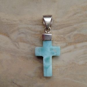 Larimar Sterling Silver Chubby Cross Pendant
